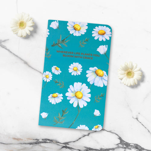 Bloom notebook floral with blue background