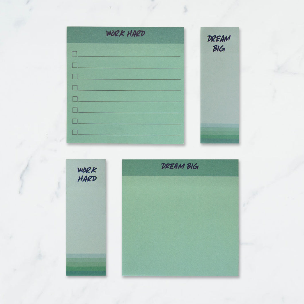 Work dream sticky note pads set of 4 green colour