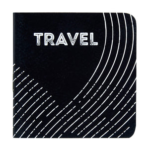 Travel mini pocket book with black and white cover design