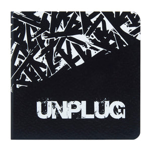 Unplug pocket book with black and white design