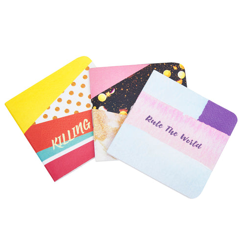 Set of 3 colorful and fun pocketbooks no limit rule the world