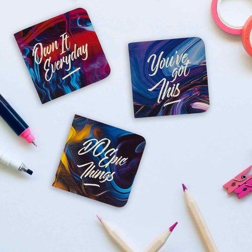 You've got this pocket book set of 3 with vibrant watercolour design covers and quotes
