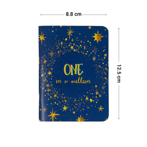One in a million pocket book with blue cover and gold stars