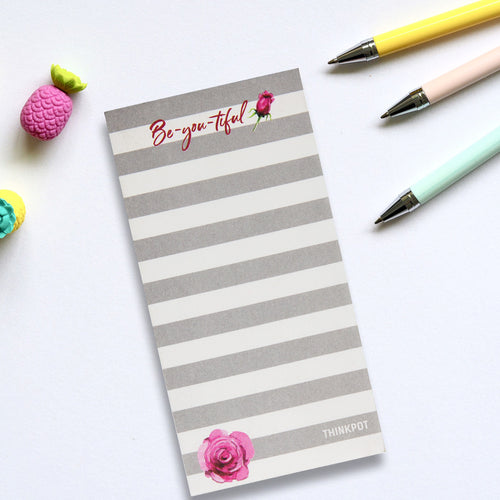 Be you tiful grey white memopad