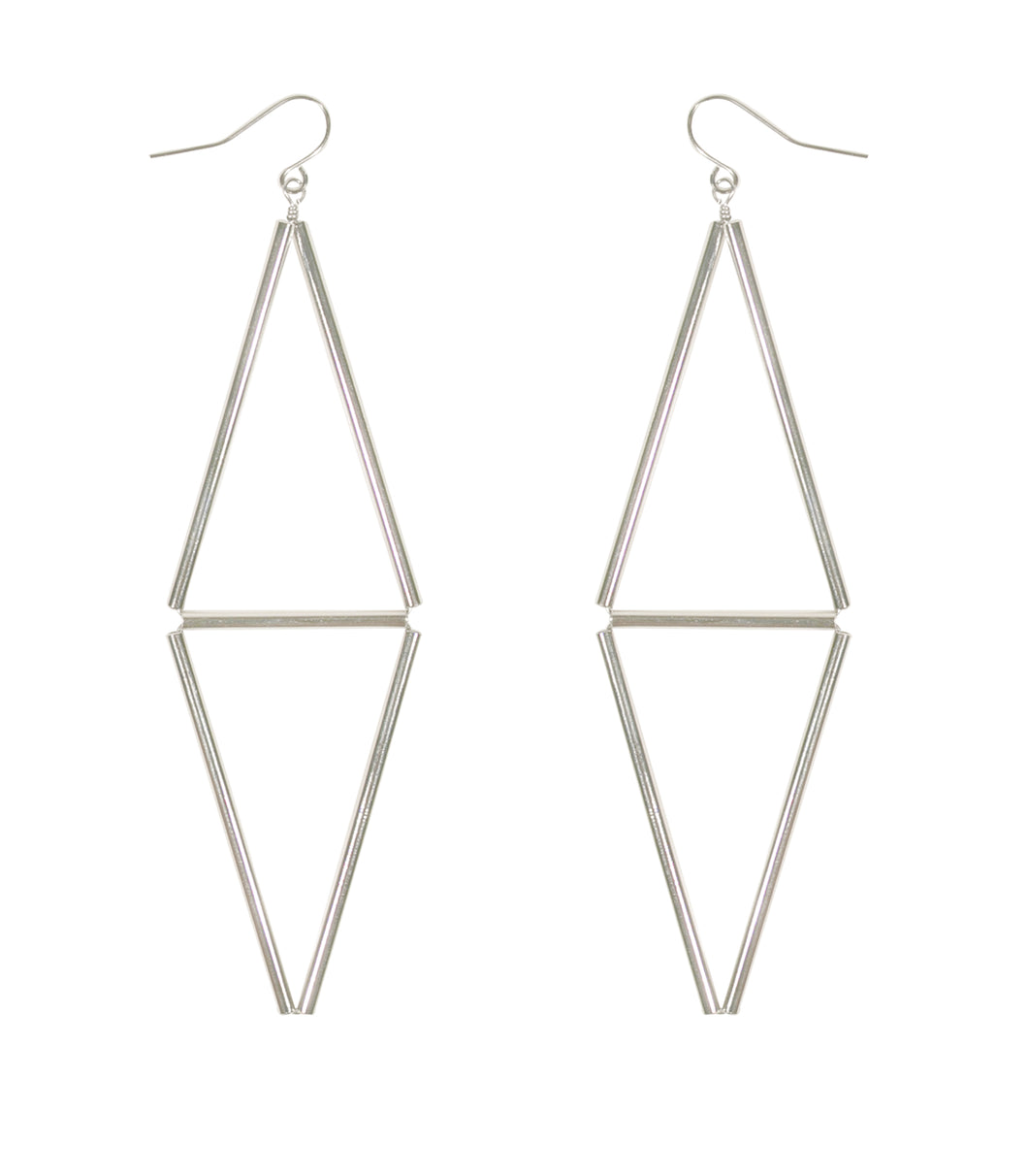 Silver tranquil dainty, long hanging earrings