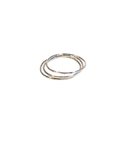 Unity ring silver tone set of 3 stacked