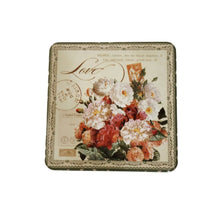 Load image into Gallery viewer, Floral design on lid of metal box