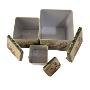 Metal tin boxes with lids for storage in kitchen, bedroom, bathroom