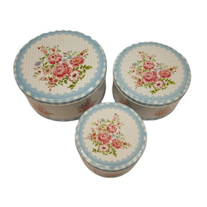 Set of 3 nesting metal tins with english floral design