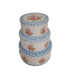 Set of 3 vintage floral print stacked tin boxes
