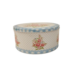 Vintage inspired english tins with polka dots, gingham checks and floral print