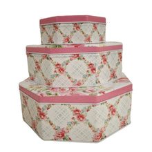 Load image into Gallery viewer, Set of 3 nesting metal tins with pink and white floral print