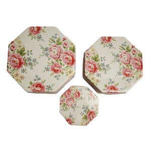 Floral print on top lid of hexagon shaped tins