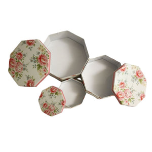 Hexagon shaped tins with floral lids