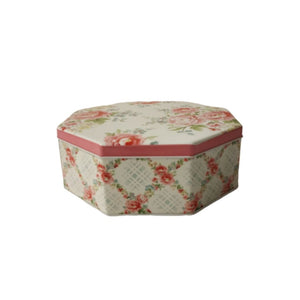 Criss Cross design with florals on side of hexagon tin