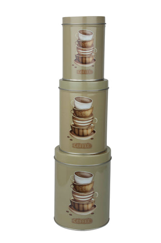 Cylindrical tin containers with coffee design stacked