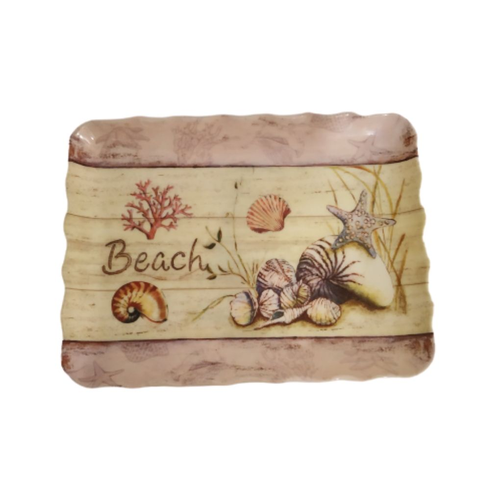 Beach print lavender color curly edge melamine tray