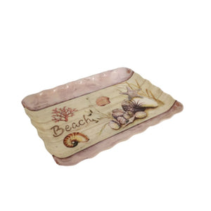 Melamine kitchen or bathroom tray with beach print and sea shell design