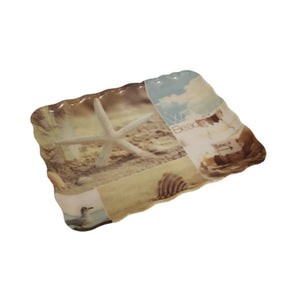 Small tray with curly edges made of melamine with beach photographs
