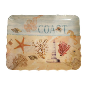 Beach coast inspired melamine tray with curly edges