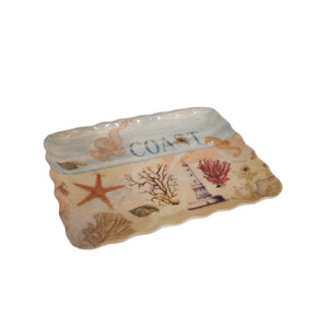 Small curly edge melamine tray with beach design