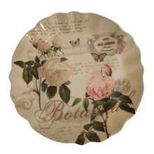 Load image into Gallery viewer, Floral print round melamine tray with curly edges with vintage inspired design