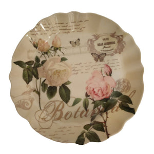 Floral print round melamine tray with curly edges with vintage inspired design