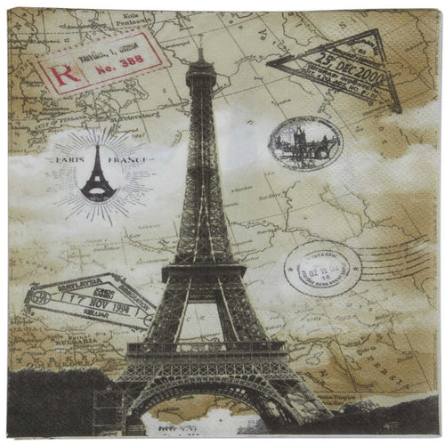 Pack of 20 party paper napkins with vintage map, travel eiffel tower Parisian print