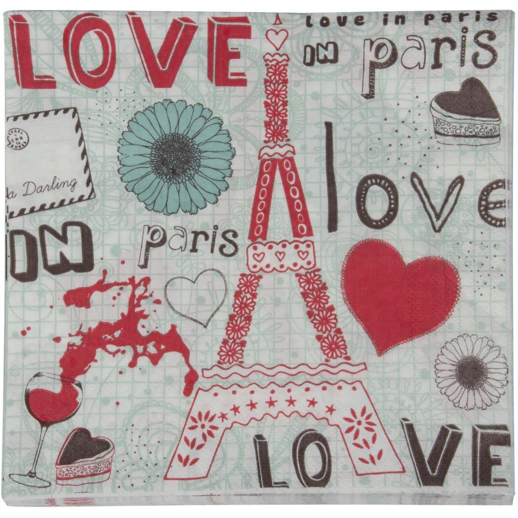 Pack of paper napkins with Paris eiffel tower love print