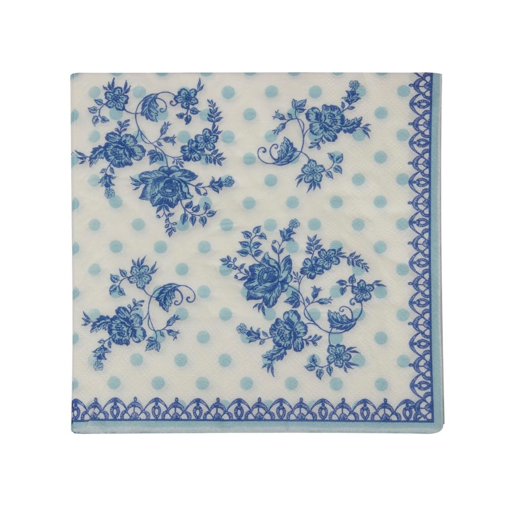 Set of party paper napkins with blue and white floral design