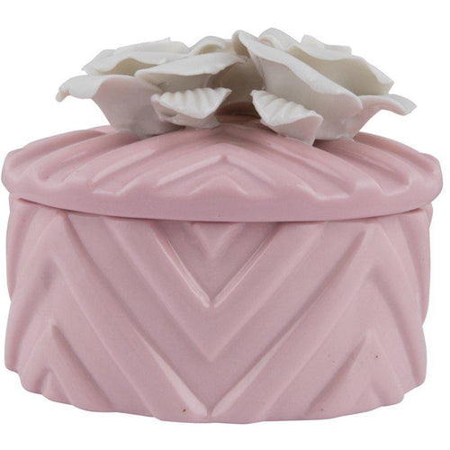 Ceramic pink jewellery storage box with white flowers on cover