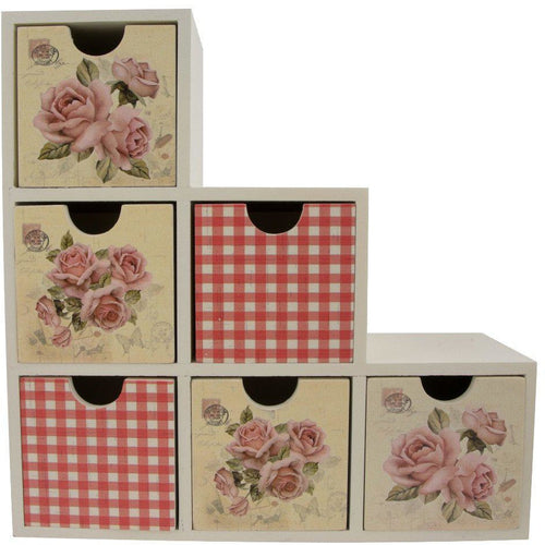 Flowers and gingham print 6 drawer organiser