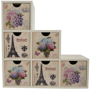 6 drawer organiser with hydrangea floral and eiffel tower print