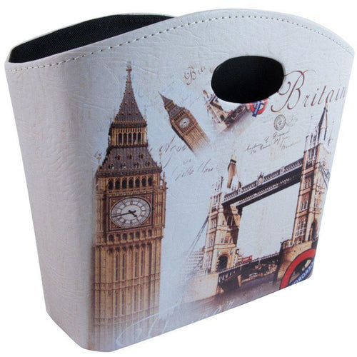 large printed storage bag with travel inspired london design