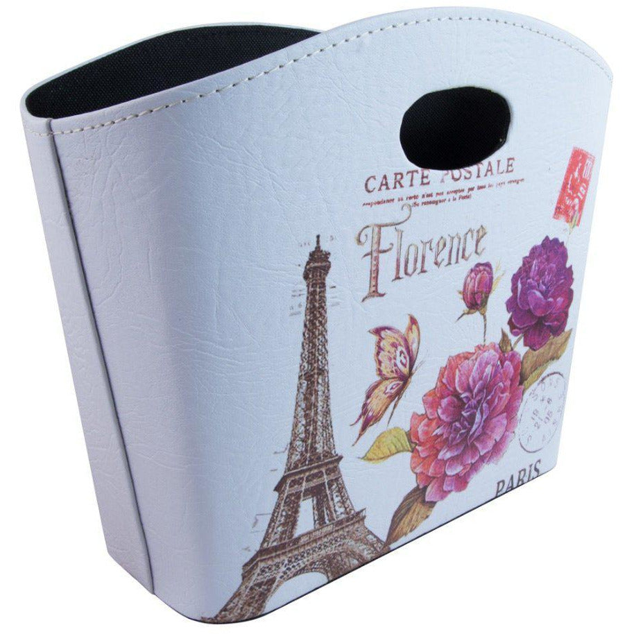 printed storage bag holder with eiffel tower design