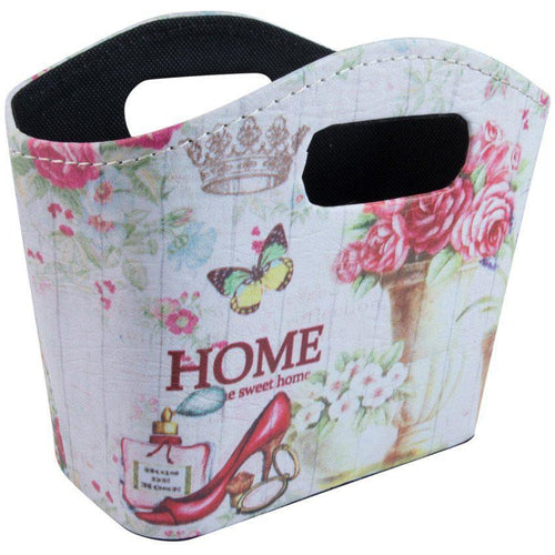 Pretty floral storage faux leather bag