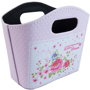 Cute pink polka dot and floral storage bag