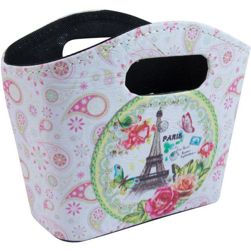 Small printed storage bag with pink paisley and eiffel tower print