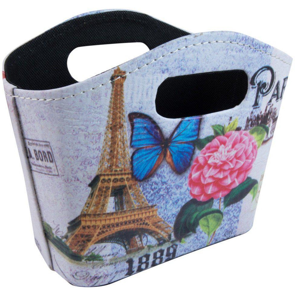 Floral eiffel tower French inspired storage bag