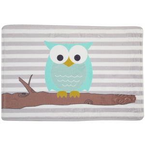 striped bathmat with owl