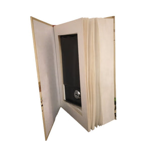 Inside of book safe with real pages and hidden compartment