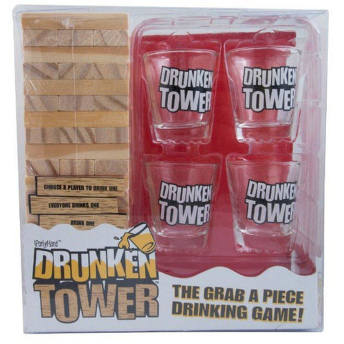 Drunken tower jenga drinking game four shot glasses and jenga blocks