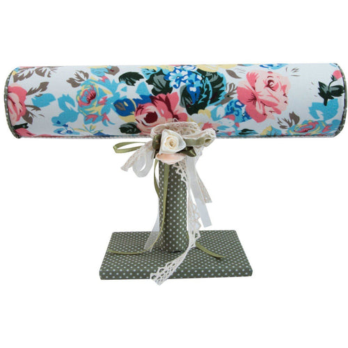Floral jewellery bangle bracelet stand with polka dot base
