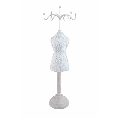 Mannequin style vintage inspired white jewellery stand display