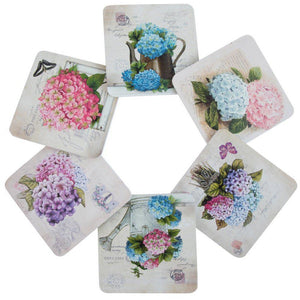 Set of 6 coasters floral print hydrangeas
