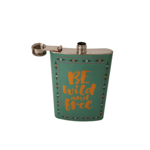 Hip flask in turquoise be wild and free