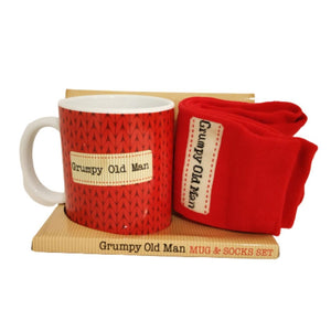 Red mug and red socks gift for grandfather or father