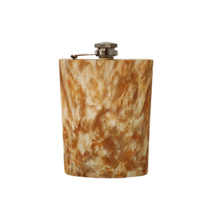 Hip flask brown and white marble look