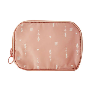pink with white arrow travel pouch with zip