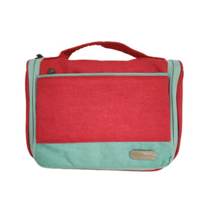 travel pouch red and blue with top handle